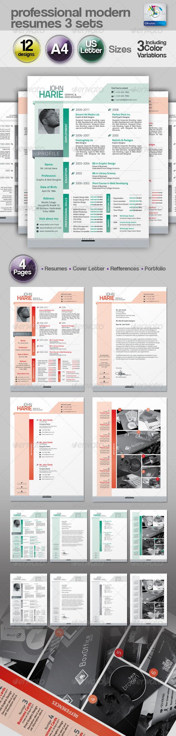 Modern Resume 3 Set - Resumes Stationery