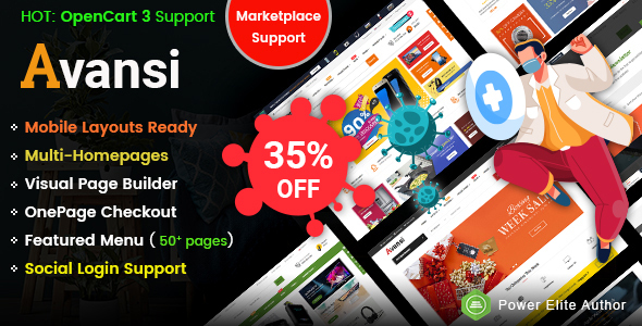 Avansi – Top Multi-purpose MarketPlace OpenCart 3 Theme (Mobile Layouts Included)