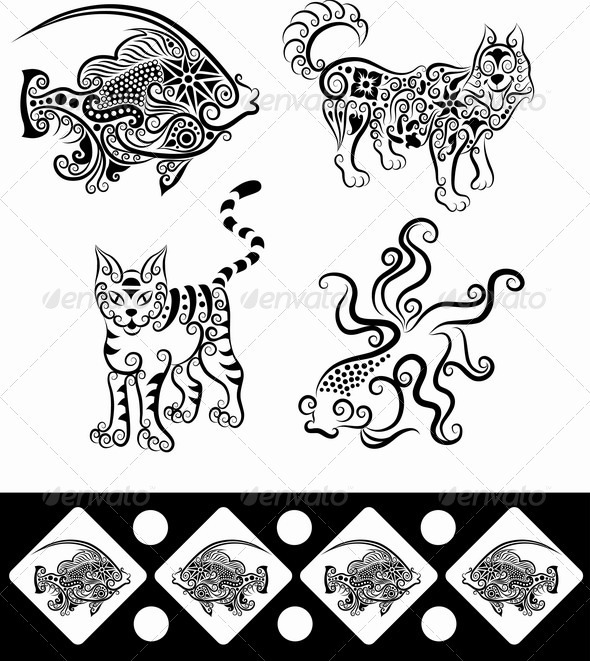 Animal Ornaments (Fish, Goldfish, Wolf, Cat)