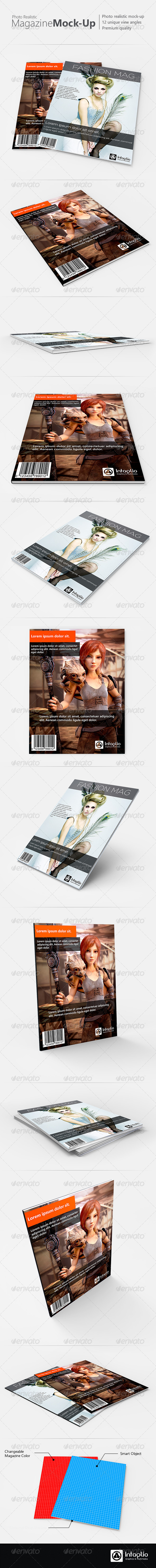 Photo-realistic Magazine Mock-Up - Magazines Print