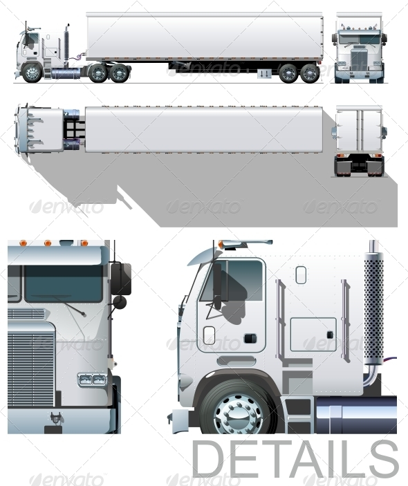Commercial Semi-truck - Man-made Objects Objects