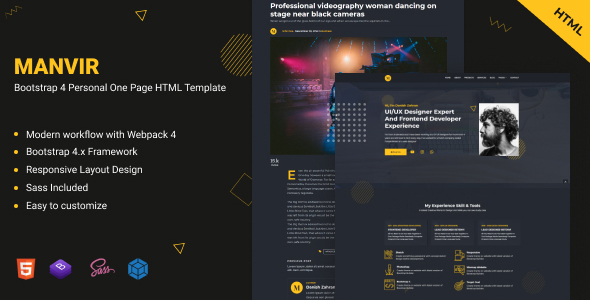 Manvir - Bootstrap 4 Personal One Page HTML Template