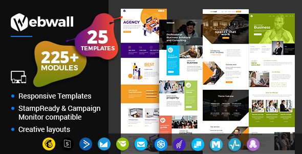 Webwall - Business Responsive Email Template + StampReady & CampaignMonitor compatible files