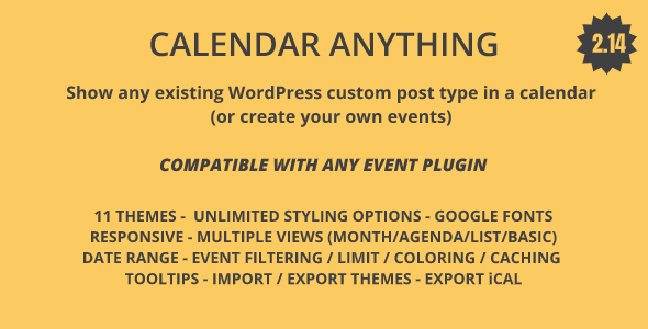 Download Calendar Anything | Show any existing WordPress custom post type in a calendar Free Nulled