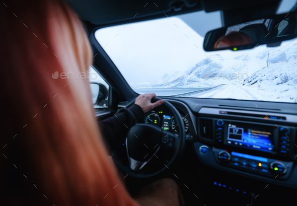Travel by car. Inside view of the car - Stock Photo - Images