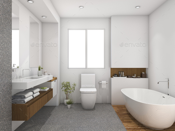 3d Rendering Wood And Tile Design Bathroom Near Window Stock Photo By Dit26978