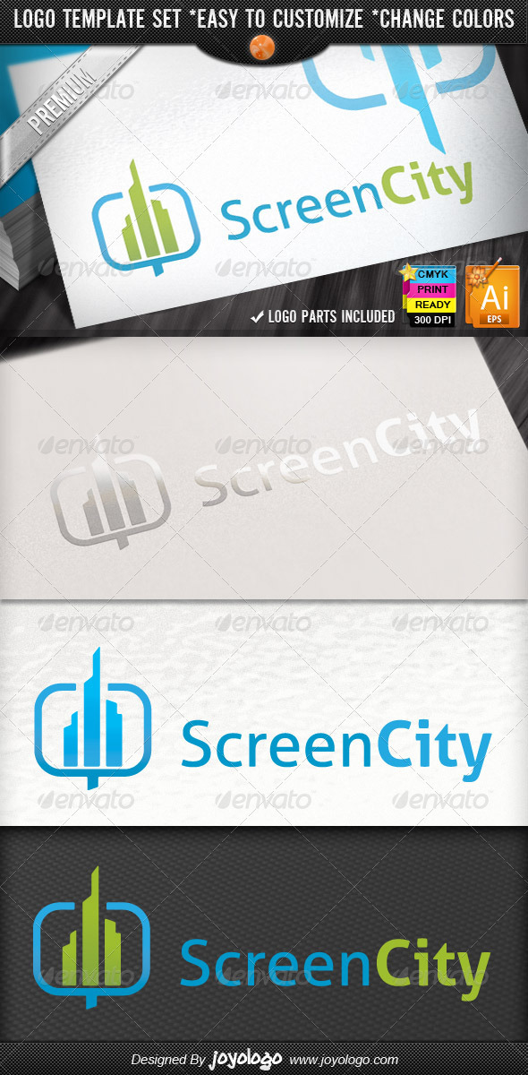 Perspective Buildings LSD Screen City Logo Designs - Buildings Logo Templates