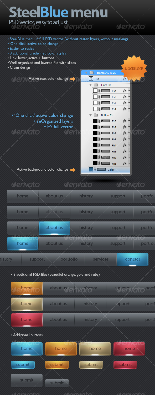 SteelBlue menu - Buttons Web Elements
