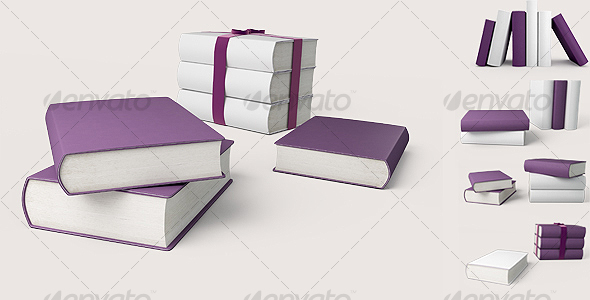 Violet and white books. 3D illustration - Objects 3D Renders