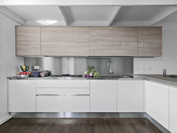 Interiors of the Modern Kitchen With Wood Floor - Stock Photo - Images