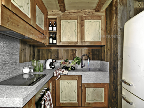 Interiors of a Rustic Kitchen - Stock Photo - Images