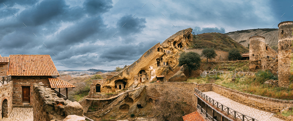 Sagarejo Municipality, Kakheti Region, Georgia. Ancient Rock-hewn Georgian Orthodox David Gareja - Stock Photo - Images