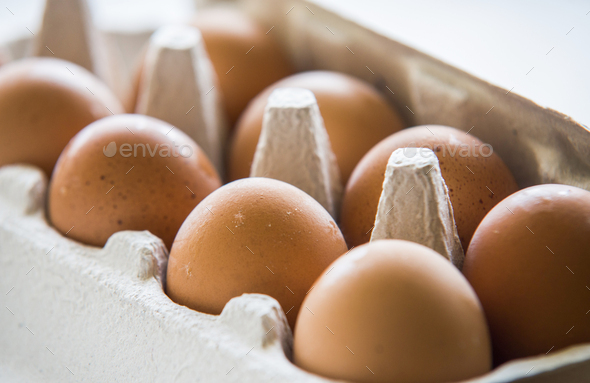 Chiken Eggs packed in a box. - Stock Photo - Images