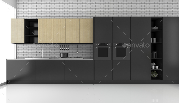 3d rendering black modern loft kitchen with brick wall - Stock Photo - Images