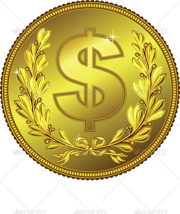 Vector Gold Money Dollar Coin - Business Conceptual