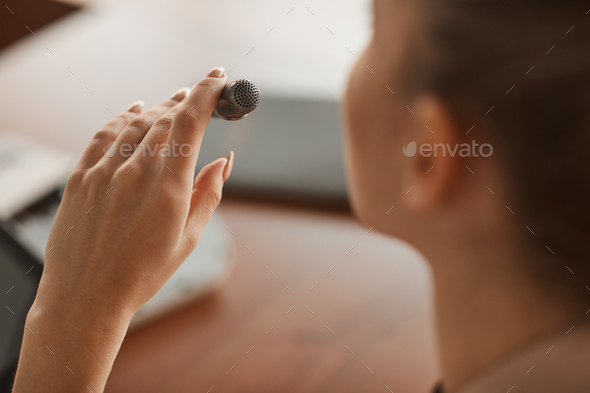 Woman speaking the speech - Stock Photo - Images