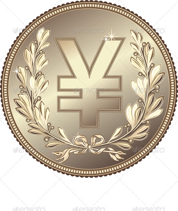 Vector Silver Money Yuan or Yen Coin - Business Conceptual