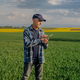 Modern Farmer Researcher Using Digital Tablet at Agricultural Field - PhotoDune Item for Sale