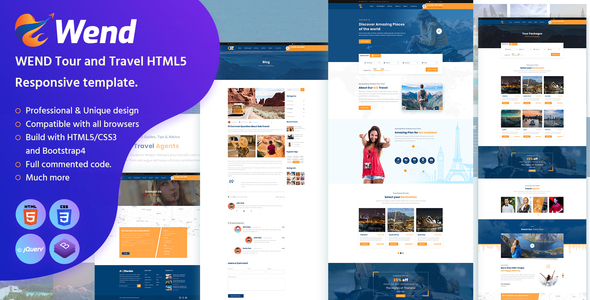 Wend - Tour and Travel HTML5 Responsive template