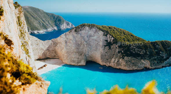 Panoramic view of Navagio beach, Zakynthos island, Greece. Shipwreck bay with turquoise water and - Stock Photo - Images