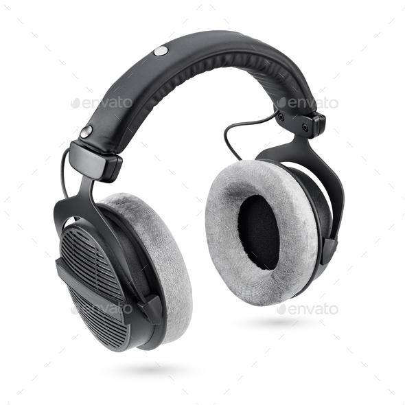 Black studio headphones isolated on white background - Stock Photo - Images