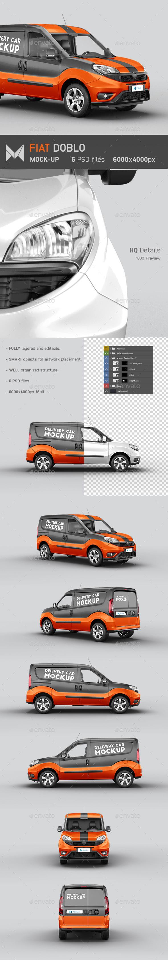 Fiat Doblo Delivery Car Mockup By Mockupix Graphicriver