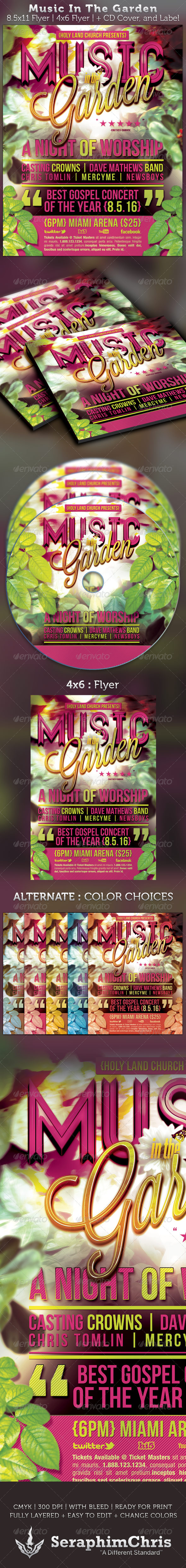 Music In The Garden Flyer and CD Cover Template - Church Flyers