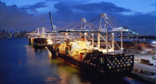 Miami port, cargo