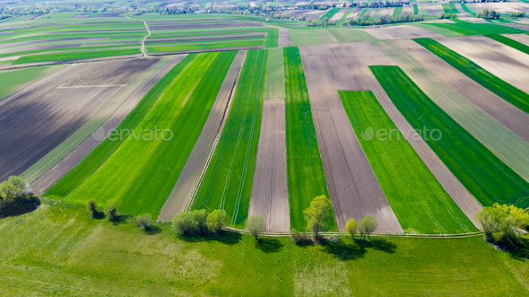 Geometric Farm Fields Shapes. Cultivated Countryside Scenic Landscape. Aerial Drone View - Stock Photo - Images