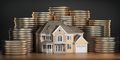 Real estate investments and mortgage concept. House and stack of coins. - PhotoDune Item for Sale
