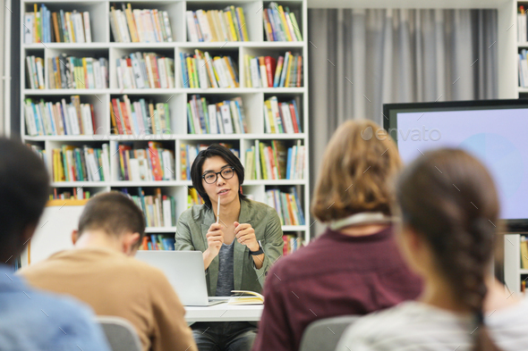 Seminar for students in the library - Stock Photo - Images