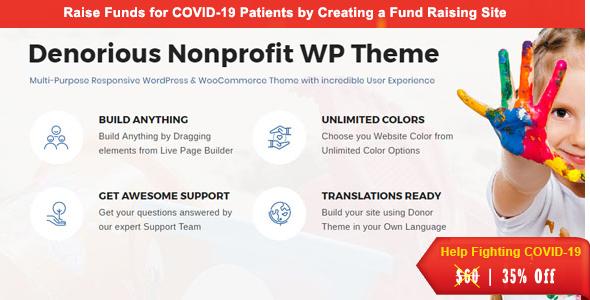 Denorious | Charity and Corona Fund Raising Nonprofit WP Theme