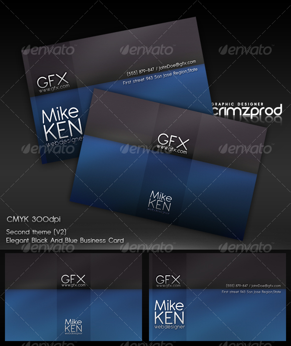 +Blue&Black Business Card - Corporate Business Cards