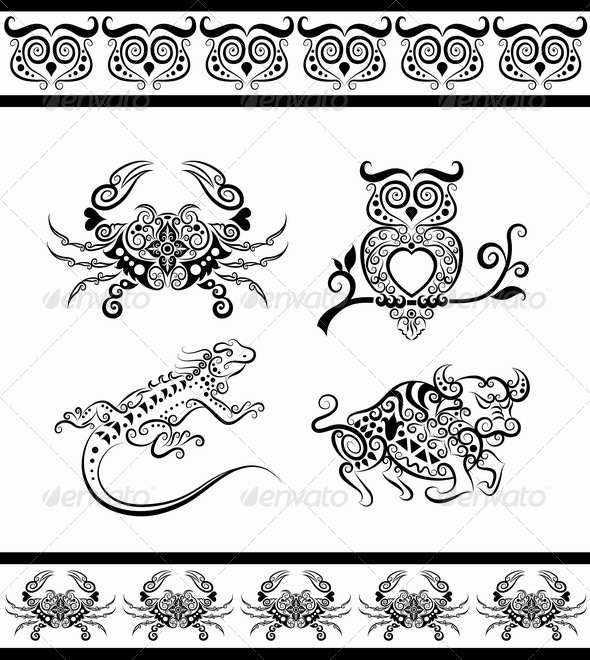Animal ornaments (owl, crab, bull, iguana) - Decorative Symbols Decorative