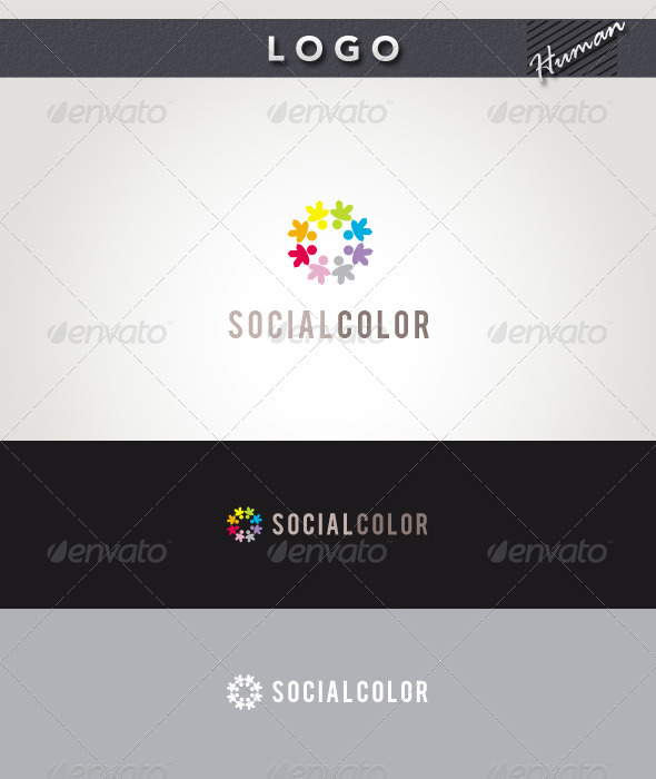 Social Color Logo - Humans Logo Templates