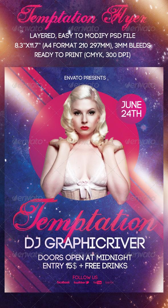 Temptation Flyer - Clubs & Parties Events