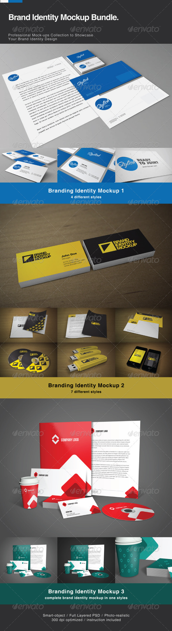 Brand Identity Mock-up Bundle - Stationery Print