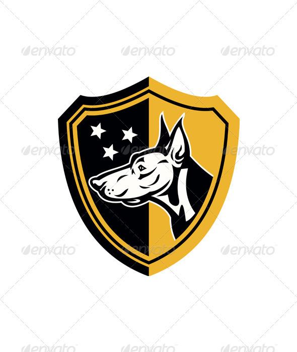 Doberman Guard Dog Stars Shield - Animals Characters