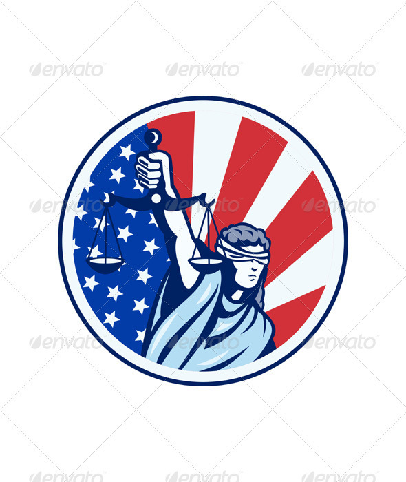 American Lady Holding Scales of Justice Flag retro - People Characters