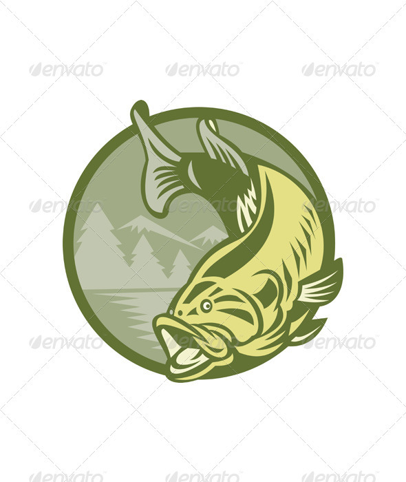 Largemouth Bass Fish Jumping Retro - Animals Characters