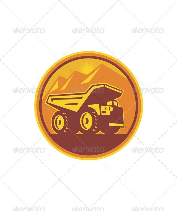 Mining Dump Truck Retro  - Industries Business