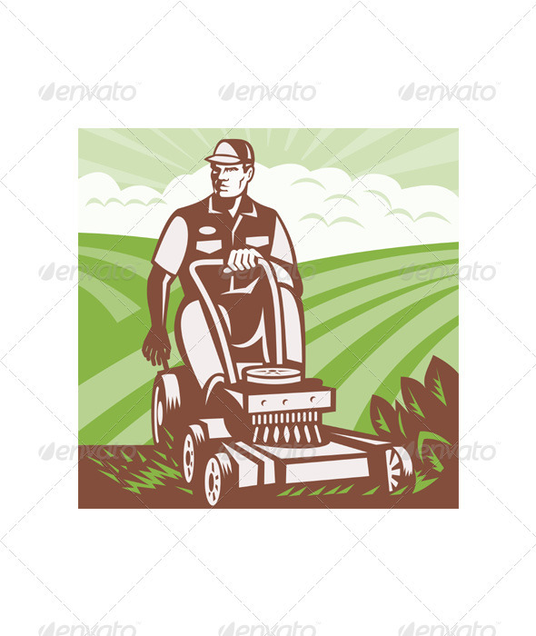 Gardener Landscaper Riding Lawn Mower Retro - People Characters