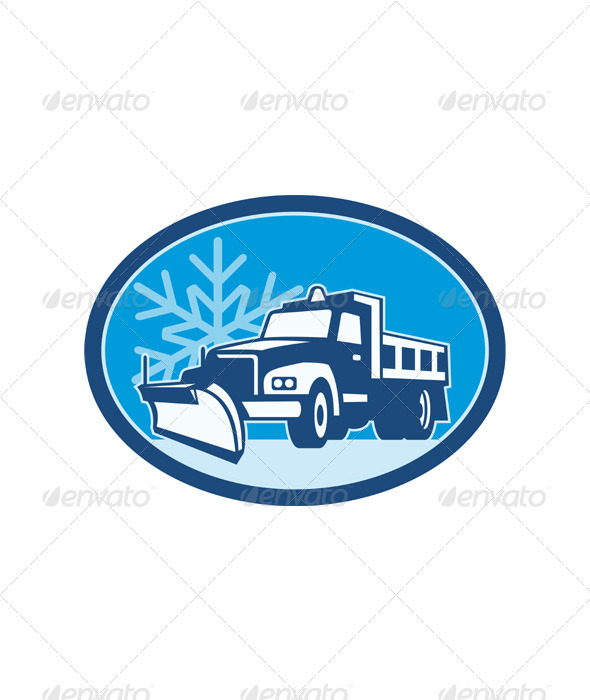 Snow Plow Truck Retro - Industries Business