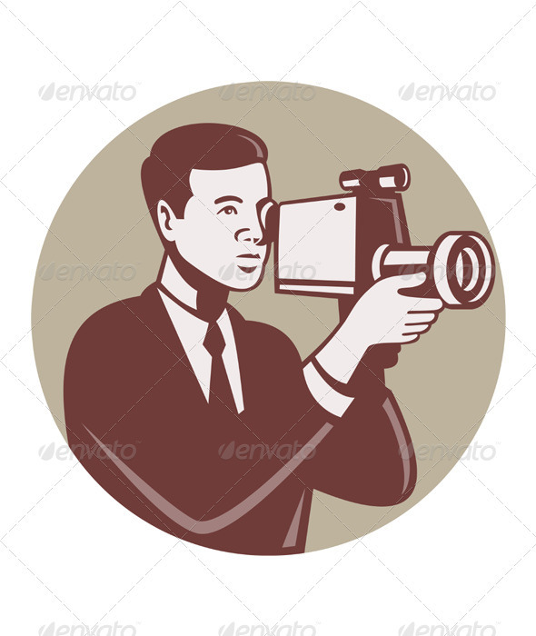 Photographer Shooting Video Camera Retro - People Characters