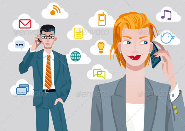 Businesswoman and Businessman on Cellphones - Concepts Business