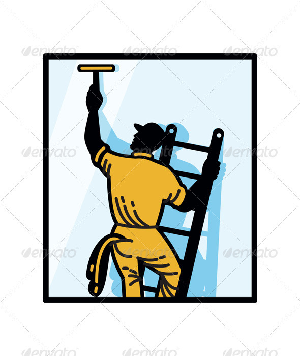 Window Cleaner Worker Cleaning Ladder Retro - People Characters