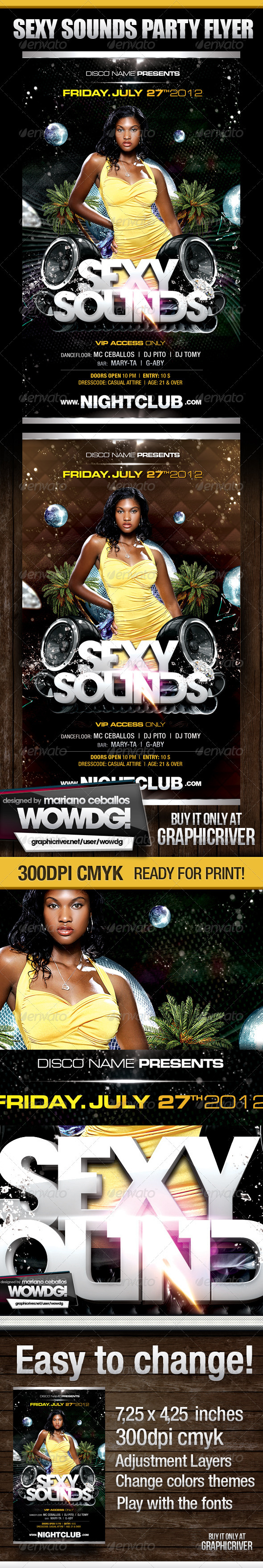 Sexy Sounds Party Flyer - Flyers Print Templates
