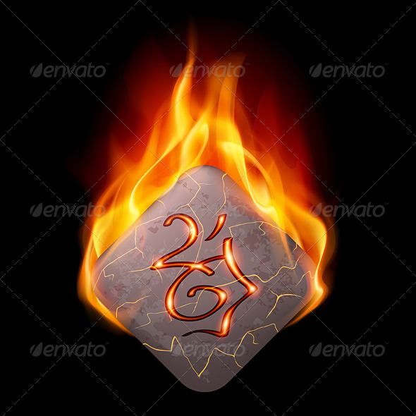 Burning Rune Stone - Objects Vectors