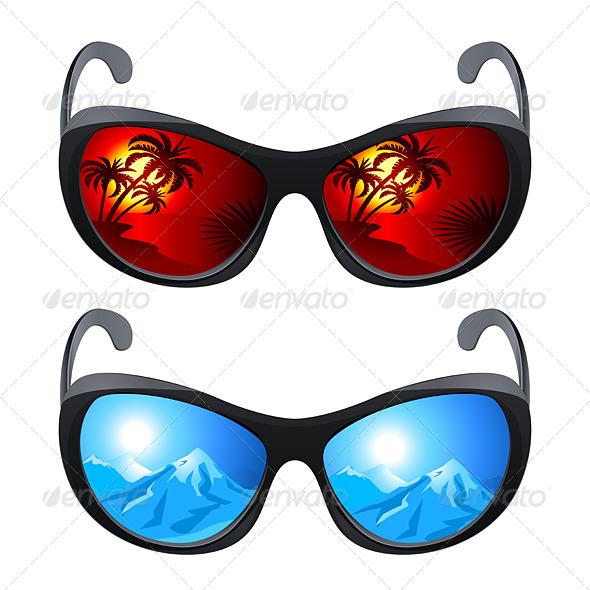 Realistic Sunglasses - Characters Vectors