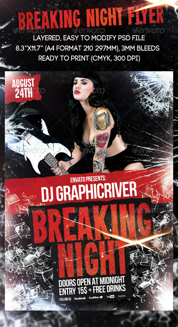 Breaking Night Flyer by 8D3K | GraphicRiver